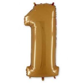 Шарик-цифра (фольга) 1 40 дюймов GOLD