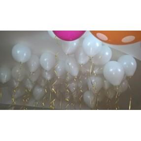 """Воздушные ассорти-шарики: шарик латексный без рисунка 12"""", надутый гелием - 25 штук"""